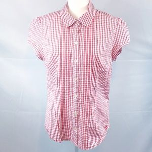 Tommy Hilfiger- Red/white button up, cap sleeve XL